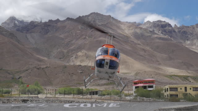helicopter taking off in ladakh, india - helicopter stock videos & royalty-free footage