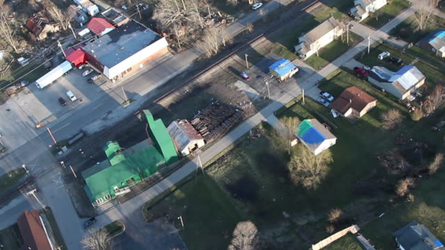 helicopter view of tornado aftermath - forest, houses - indiana stock videos & royalty-free footage