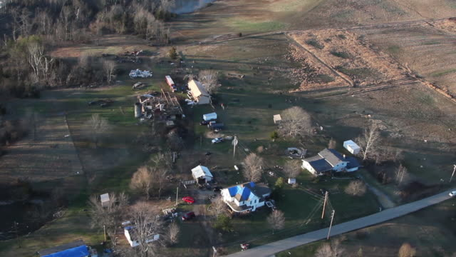 helicopter view of tornado aftermath - rural houses - indiana stock videos & royalty-free footage
