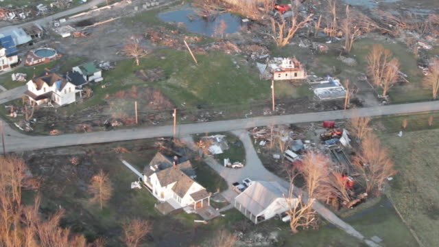helicopter view of tornado aftermath - town - damaged stock videos & royalty-free footage