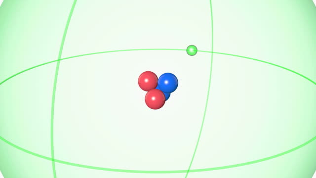 helium atom. diagram of an atom of the element helium, pulling back from the central nucleus to reveal the surrounding electron orbital. - neutron stock-videos und b-roll-filmmaterial