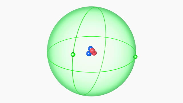 helium atom. diagram of an atom of the element helium, showing the central nucleus surrounded by its electron orbital. - nucleus stock videos & royalty-free footage