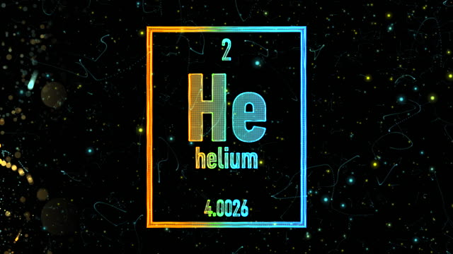vídeos de stock e filmes b-roll de helium symbol as in the periodic table - átomo