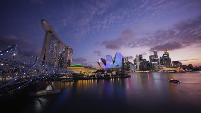 WS Helix Bridge and Marina Bay cityscape, Singapore