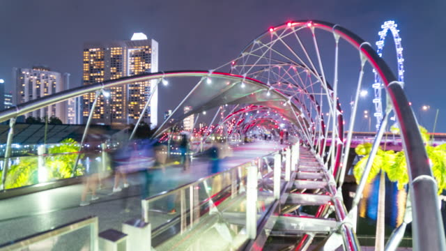 4k tl: helix bridge in night. - helix bridge stock videos & royalty-free footage