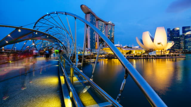 helix bridge time lapse, singapore - helix bridge stock videos & royalty-free footage