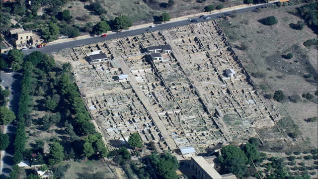 ヘレニズムの ローマクォーター航空写真シチリア、州のアグリジェント、アグリジェント,イタリア - 25セント硬貨点の映像素材/bロール