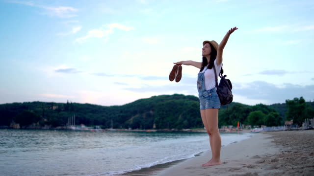 hello beach holiday - stare in piedi video stock e b–roll