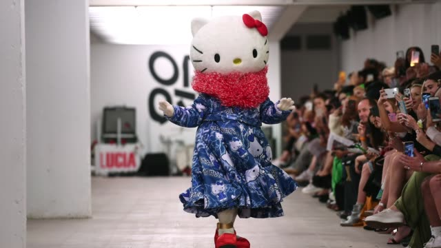 hello kitty walks the runway at the jimmypaul on|off show during london fashion week september 2019 at the bfc show space on september 17 2019 in... - cartoon stock videos & royalty-free footage