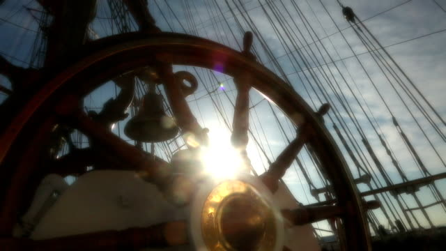 helm of tall ship - stylized old movie - rigging stock videos & royalty-free footage