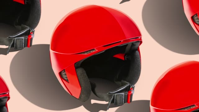 helmet pattern on color background. from top view - sports helmet stock videos & royalty-free footage