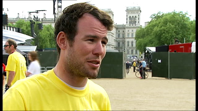 Help For Heroes Paris to London charity cycle ride Mark Cavendish interview SOT / Mark Cavendish general views / James Blunt sitting on bike for...