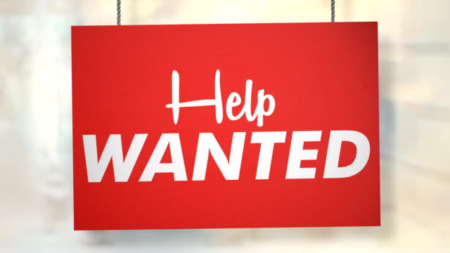 help wanted sign hanging from ropes. luma matte included so you can put your own background. - help wanted sign stock videos and b-roll footage