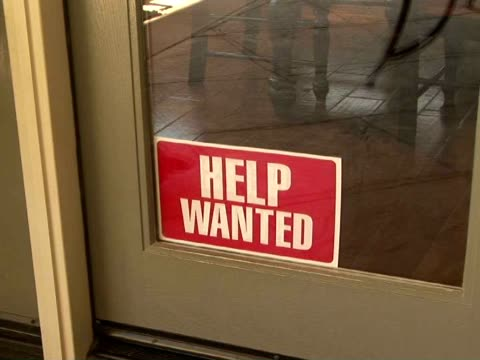 cu, zi help wanted sign in window, california, usa - help wanted sign stock videos and b-roll footage