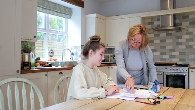 vidéos et rushes de aide avec les devoirs de grand-mère - un jour comme les autres images en série