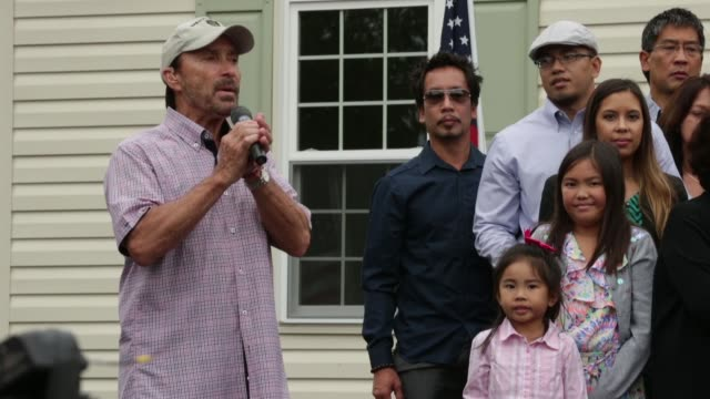 helping a hero national ambassador and country music artist lee greenwood sings 'god bless the usa' during an event to welcome us army specialist jay... - music therapy stock videos & royalty-free footage