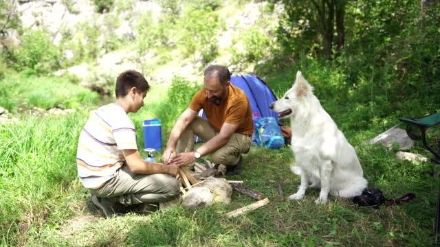 vídeos y material grabado en eventos de stock de ayudar a papá a encender el fuego - perro cazador