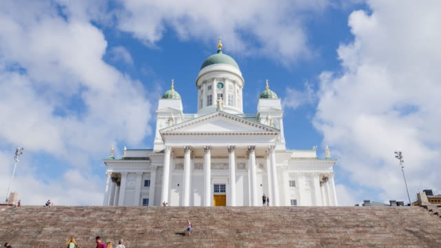 helsinki cathedral and people on the stairs - finlandia video stock e b–roll