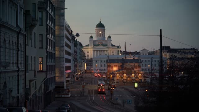 helsinki cathedral at night in finland - street light stock videos & royalty-free footage