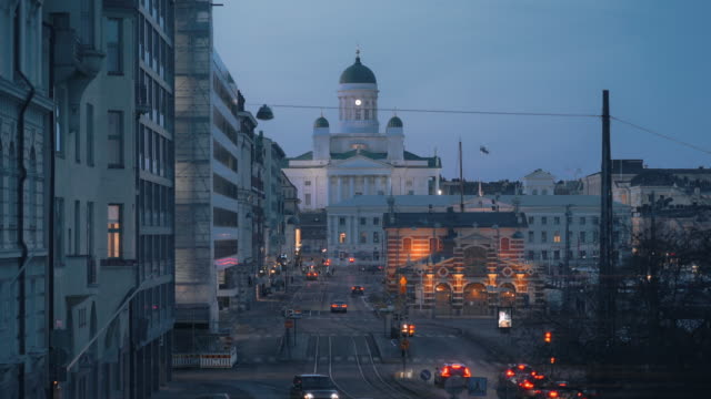 helsinki cathedral at night in finland - finlandia video stock e b–roll