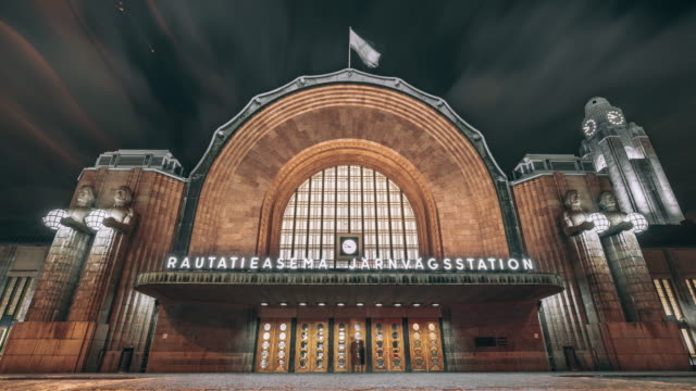 helsinki central railway staion square - helsinki video stock e b–roll