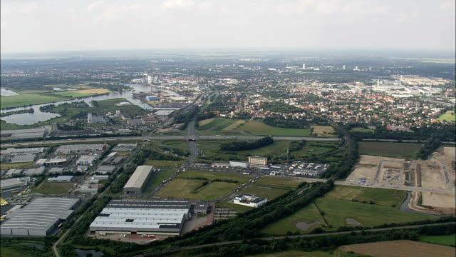 Hemelingen Docks On River Weser  - Aerial View - Bremen,  Germany