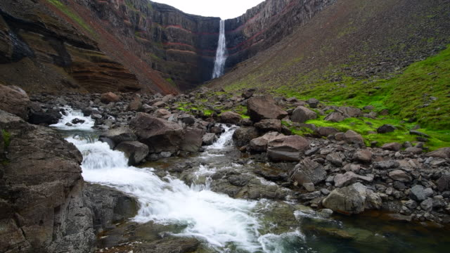 hengifoss waterfall, iceland - eroded stock videos & royalty-free footage