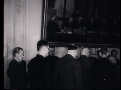 henkel shaking hands with molotov and ambassador kerr followed by walden henriks k henkel agreement signed between finland and ussr for interim peace... - vyacheslav m. molotov stock videos and b-roll footage