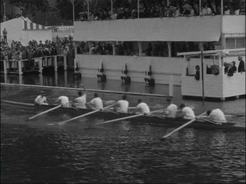 oxfordshire henley river at henley and spectators / lv both boats in ladies challenge plate pembroke win and oxford follow / cu punt with people in... - pembroke video stock e b–roll