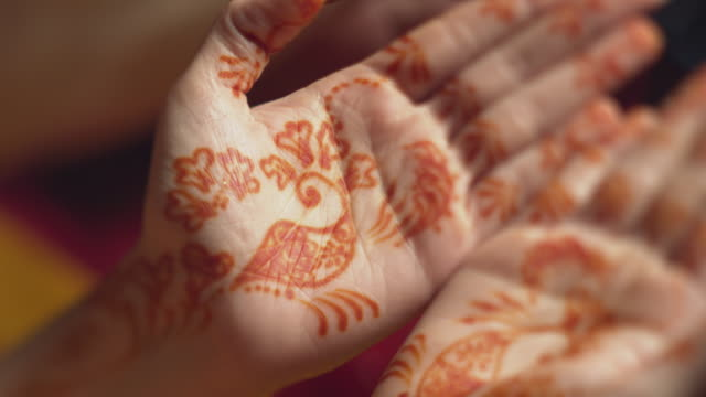 henna tattoo on hands - malaysia stock videos & royalty-free footage