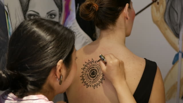henna tattoo studio - art and craft stock videos & royalty-free footage