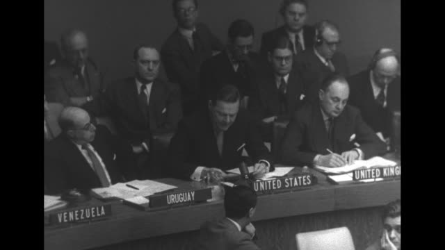 henry cabot lodge, jr., addresses a session of the un general assembly as he sits at a desk / note: exact month/day not known - united nations general assembly stock videos & royalty-free footage