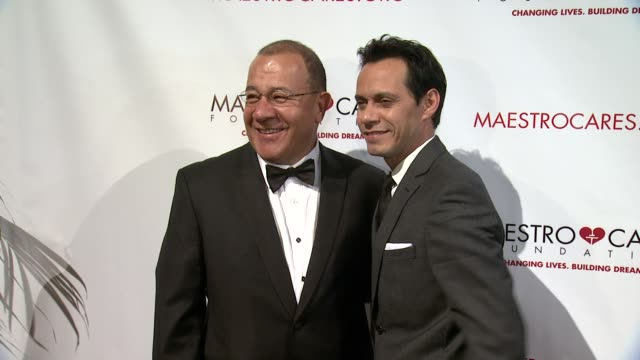 henry cardenas and marc anthony at maestro cares first annual gala dinner - new york at cipriani, wall street on february 18, 2014 in new york city. - cipriani manhattan stock videos & royalty-free footage