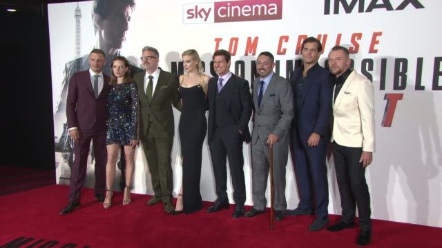 henry cavill frederick schmidt rebecca ferguson vanessa kirby tom cruise simon pegg christopher mcquarrie at 'mission impossible fallout' uk premiere... - tom cruise stock videos & royalty-free footage