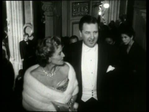 1955 b/w henry ford ii and his wife anne mcdonnell ford in formalwear at the vienna opera / no sound - henry ford stock videos and b-roll footage