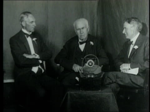 henry ford joins thomas edison on radio broadcast to give advice to young men / united states - henry ford founder of ford motor company stock videos & royalty-free footage