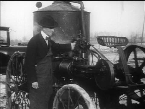 b/w henry ford operating steam engine / documentary - inventor stock videos & royalty-free footage