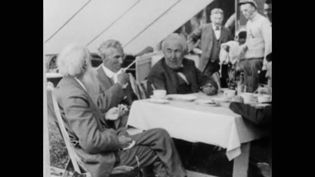 henry ford, thomas edison, john burroughs and others eating in tent during camping trip, usa - senior men stock videos & royalty-free footage