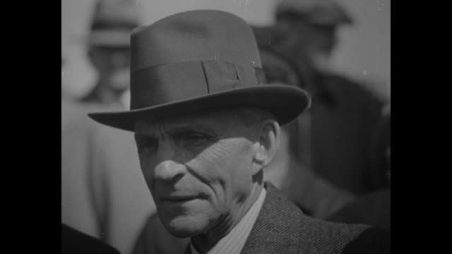 cu henry ford wearing fedora which casts shadow on his eyes / note exact year not known documentation incomplete - ford stock-videos und b-roll-filmmaterial