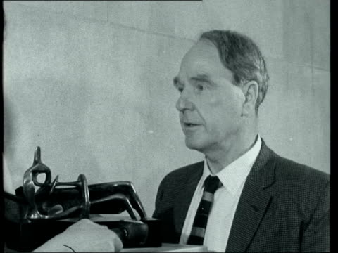 henry moore interview; england: london: tate gallery: int 2-shot henry moore: says he thinks that the exhibition is through the generosity of friends... - reclining stock videos & royalty-free footage