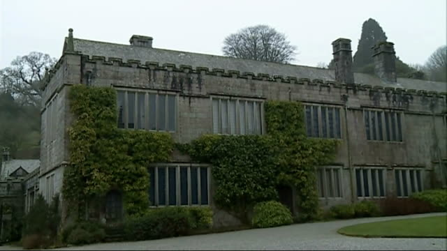 henry viii book at national trust's lanhydrock house; england: cornwall: lanhydrock house: ext various of lanhydrock house buildings and garden... - national trust video stock e b–roll