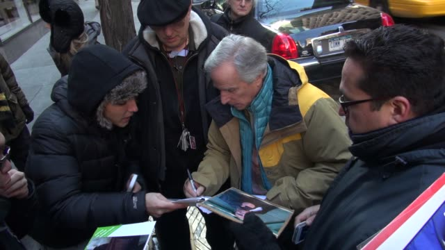 "henry winkler arrives at the today show in rockefeller center signs for and poses with fans then talks about his children's book ""here's hank"" in... - signierstunde stock-videos und b-roll-filmmaterial"