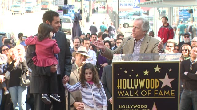 henry winkler at the adam sandler honored with a star on the hollywood walk of fame at hollywood ca. - adam sandler stock videos & royalty-free footage