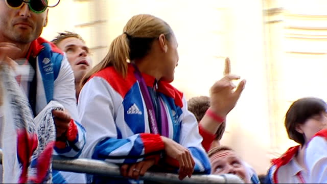 heptathlete jessica ennishill announces she is pregnant t10091221 london ennis waving from float as along in omlympic and paralympic athletes parade - parade float stock videos and b-roll footage