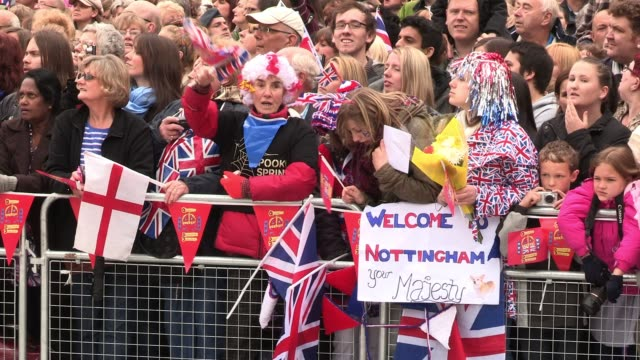 her majesty the queen and the duke and duchess of cambridge visit nottingham as part of the diamond jubilee celebrations royal diamond jubilee visit... - queen royal person stock videos & royalty-free footage