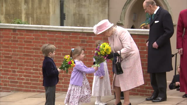 Her Majesty The Queen attends traditional Easter Sunday service at Windsor Castle at St George's Chapel on March 31 2013 in Windsor England