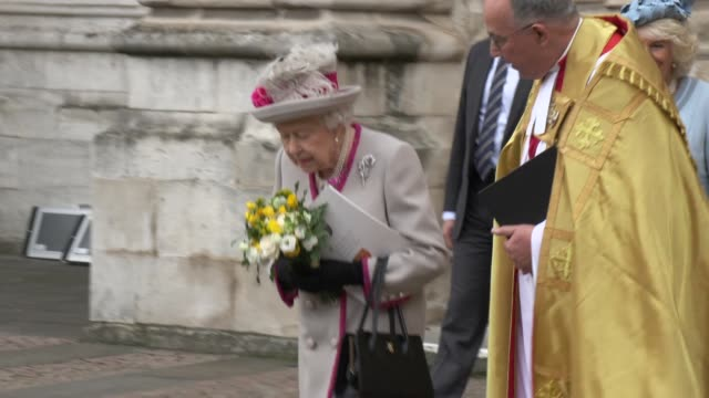 GBR: Her Majesty The Queen, accompanied by Her Royal Highness The Duchess of Cornwall, attend service marking 750th Anniversary of Westminster Abbey