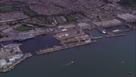 aerial, her majesty's naval base, devonport, plymouth, england - warship stock videos & royalty-free footage
