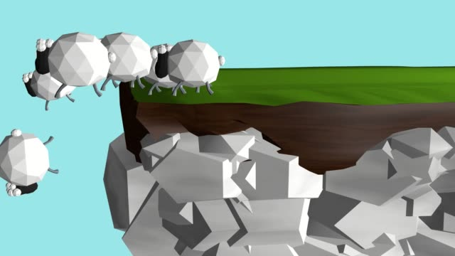 a her of sheep following the wise leader - cliff stock videos & royalty-free footage