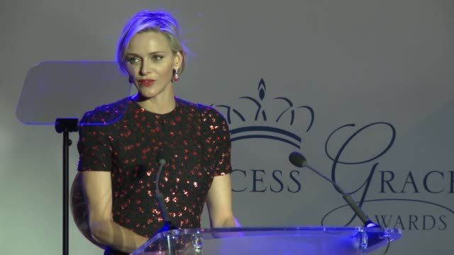 her serene highness princess charlene on monaco at the 2015 princess grace awards gala on september 05 2015 in monaco monaco - monaco stock-videos und b-roll-filmmaterial